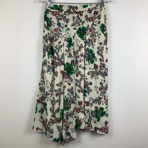 Isabel Marant Floral Asymmetric Silk Skirt White